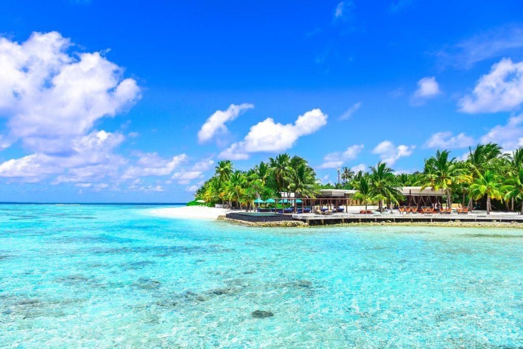 Beach at Mexico.s coast with blue sea an blue sky